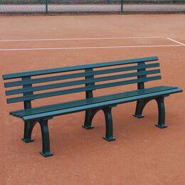 Tennisplatzsitzbank mit Lehne, Länge 1,50 m, grün