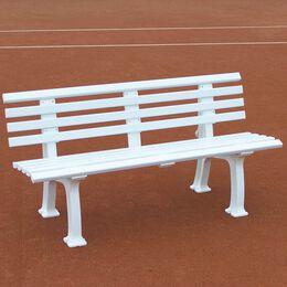 Tennisplatzsitzbank mit Lehne, Länge 1,50 m, weiß