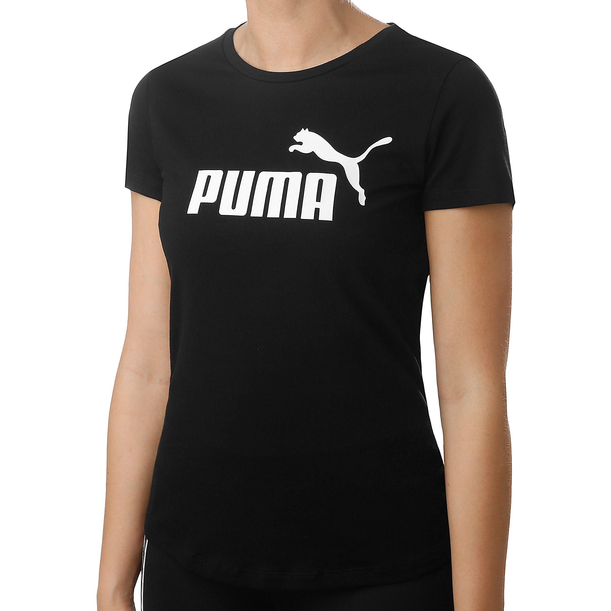 Puma Essential Logo T Shirt Damen Schwarz, Weiß online