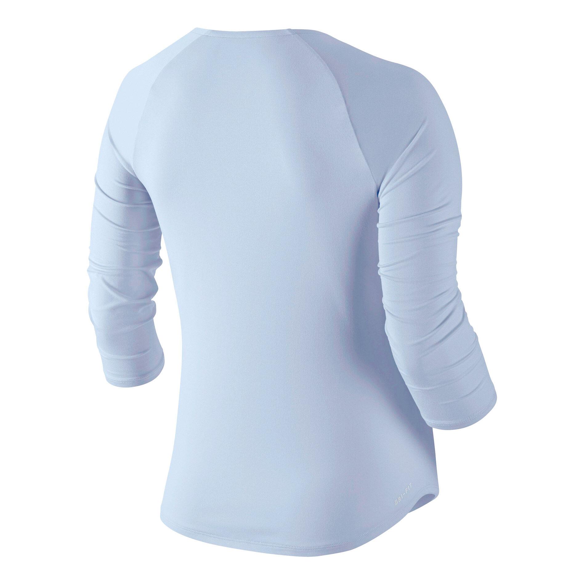 Nike Damen Pure 34 Sleeve Shirt Royal TintWhite XL