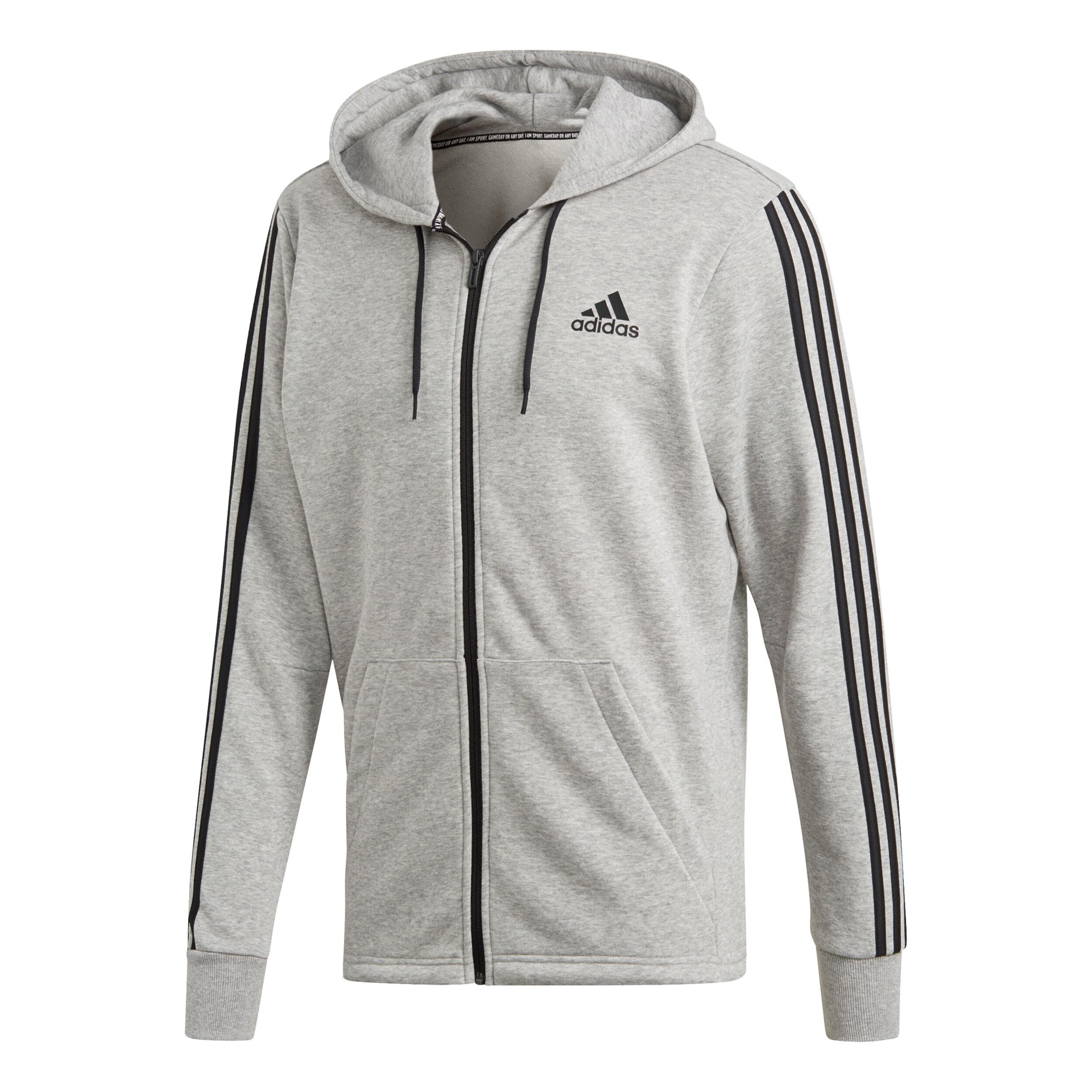 adidas Must Have 3 Stripes French Terry Full Zip Sweatjacke Herren Grau, Schwarz