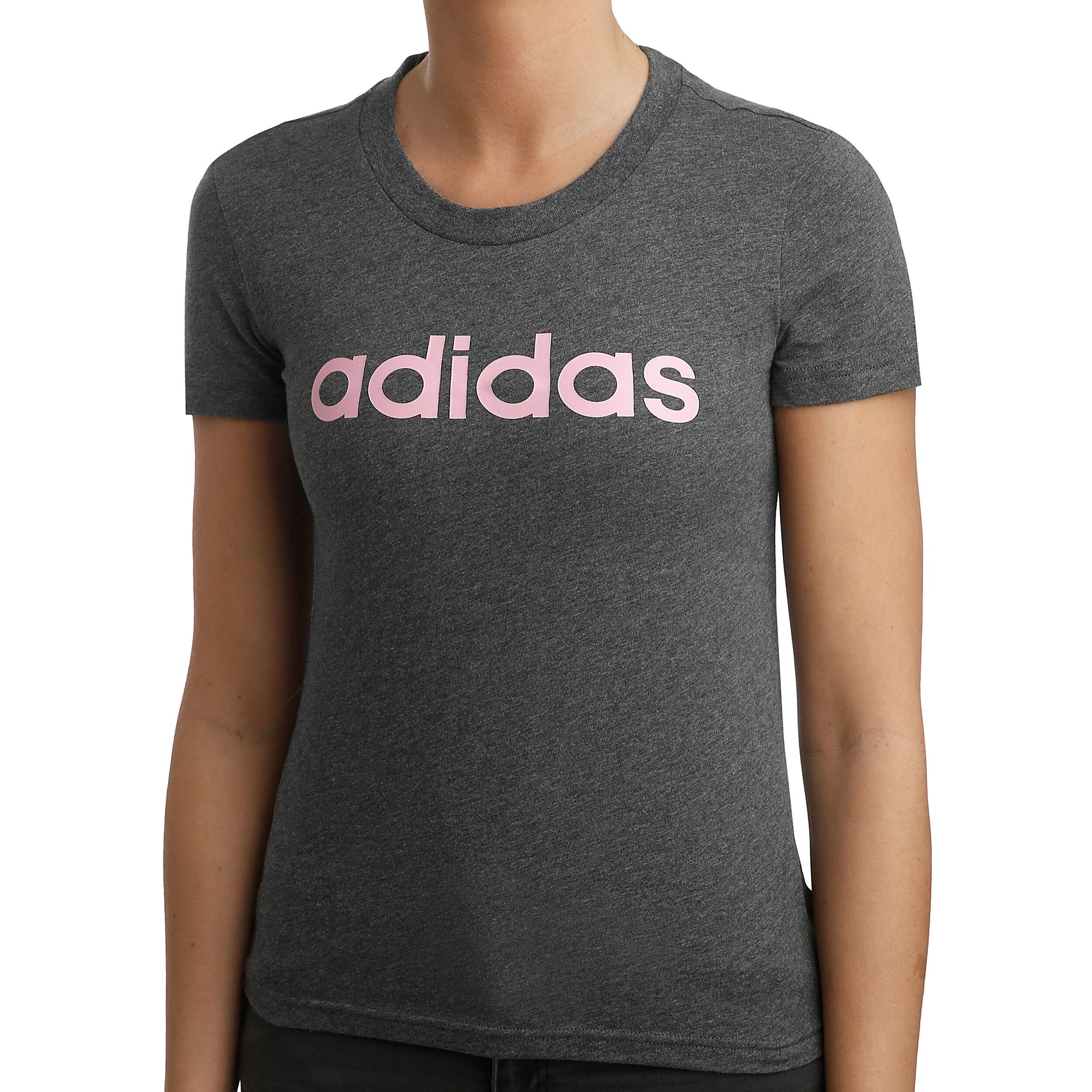 adidas Essentials Linear Slim T Shirt Damen Dunkelgrau