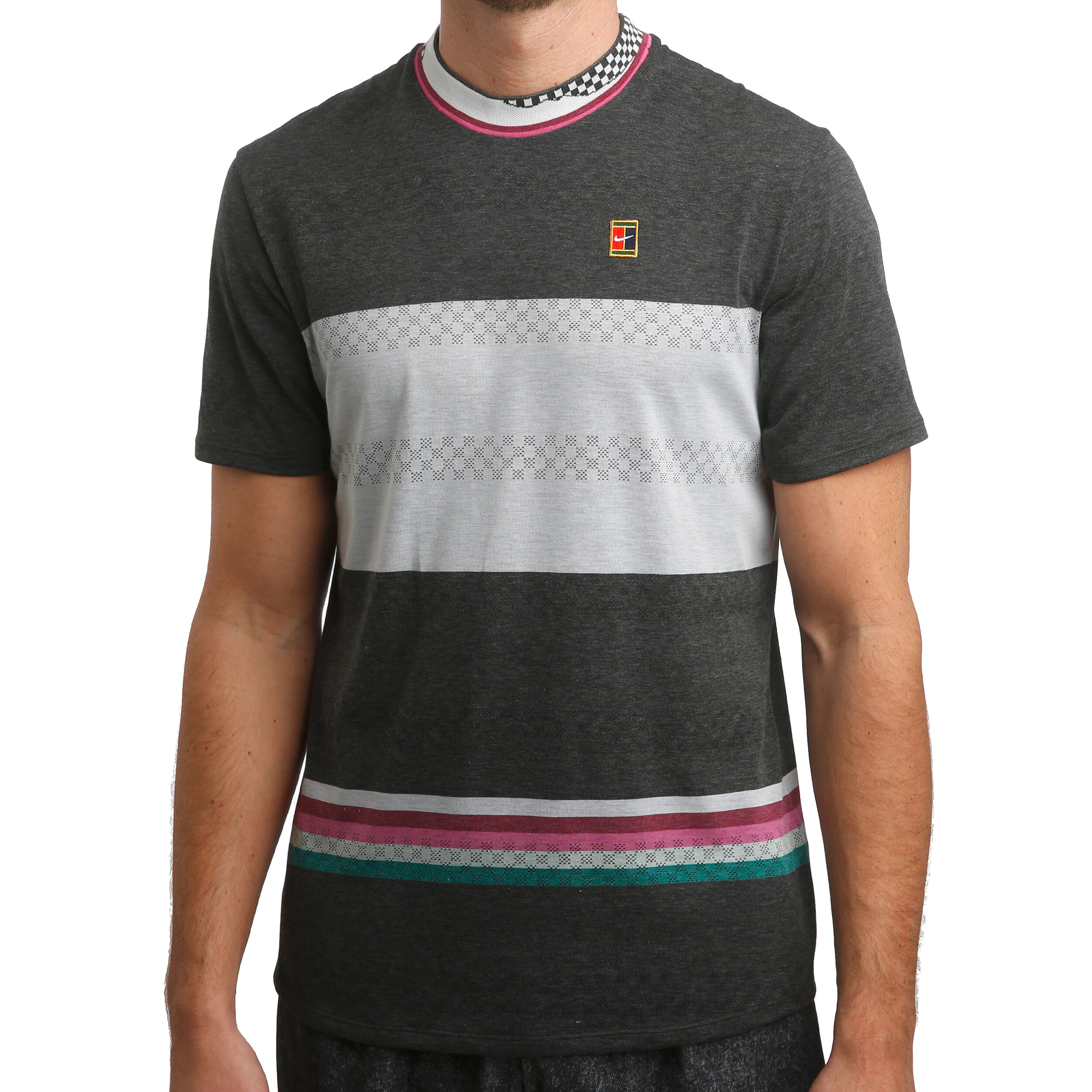 Nike Court Challenger T Shirt Herren Schwarz, Hellgrau