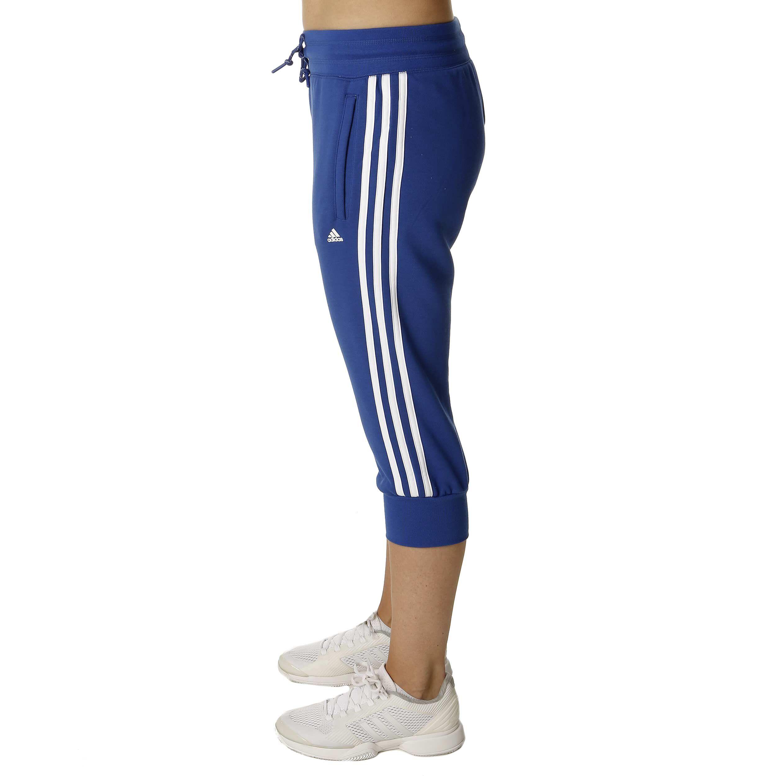 adidas Essentials 3 Stripes 34 Pant Capri Hose Damen Blau