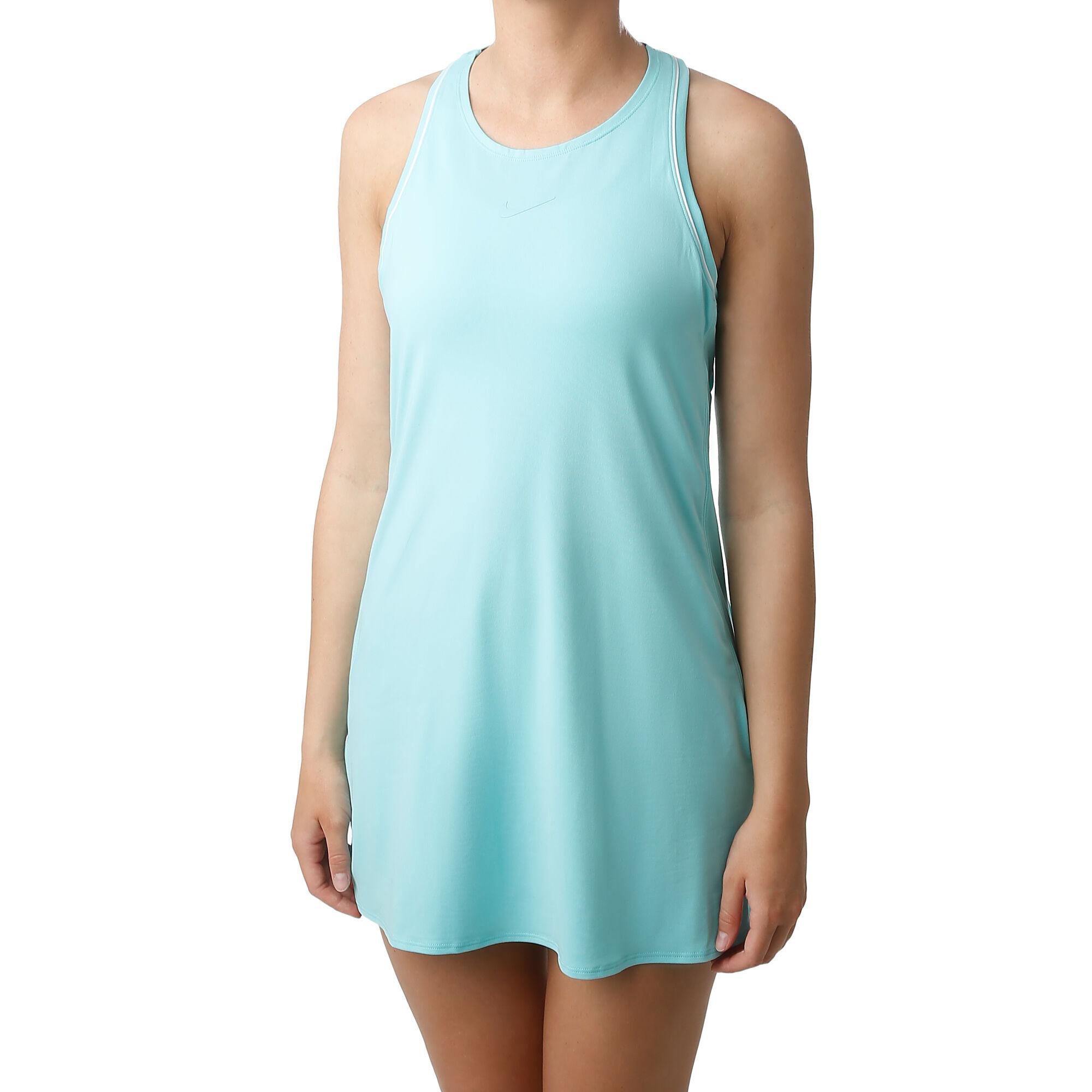 Nike Court Dry Kleid Damen Turkis Weiss Online Kaufen Tennis Point