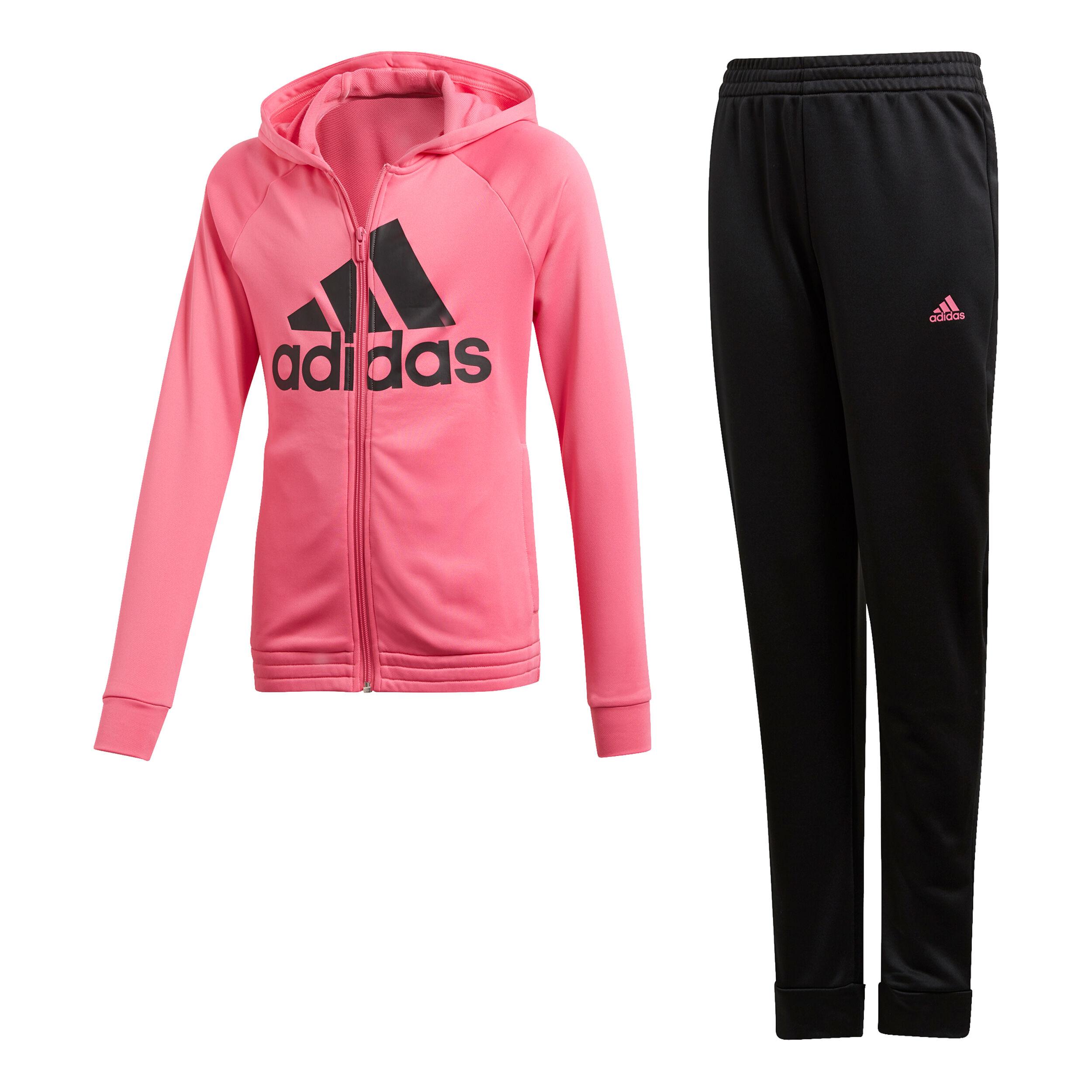 adidas Hooded Polyester Trainingsanzug Mädchen Schwarz