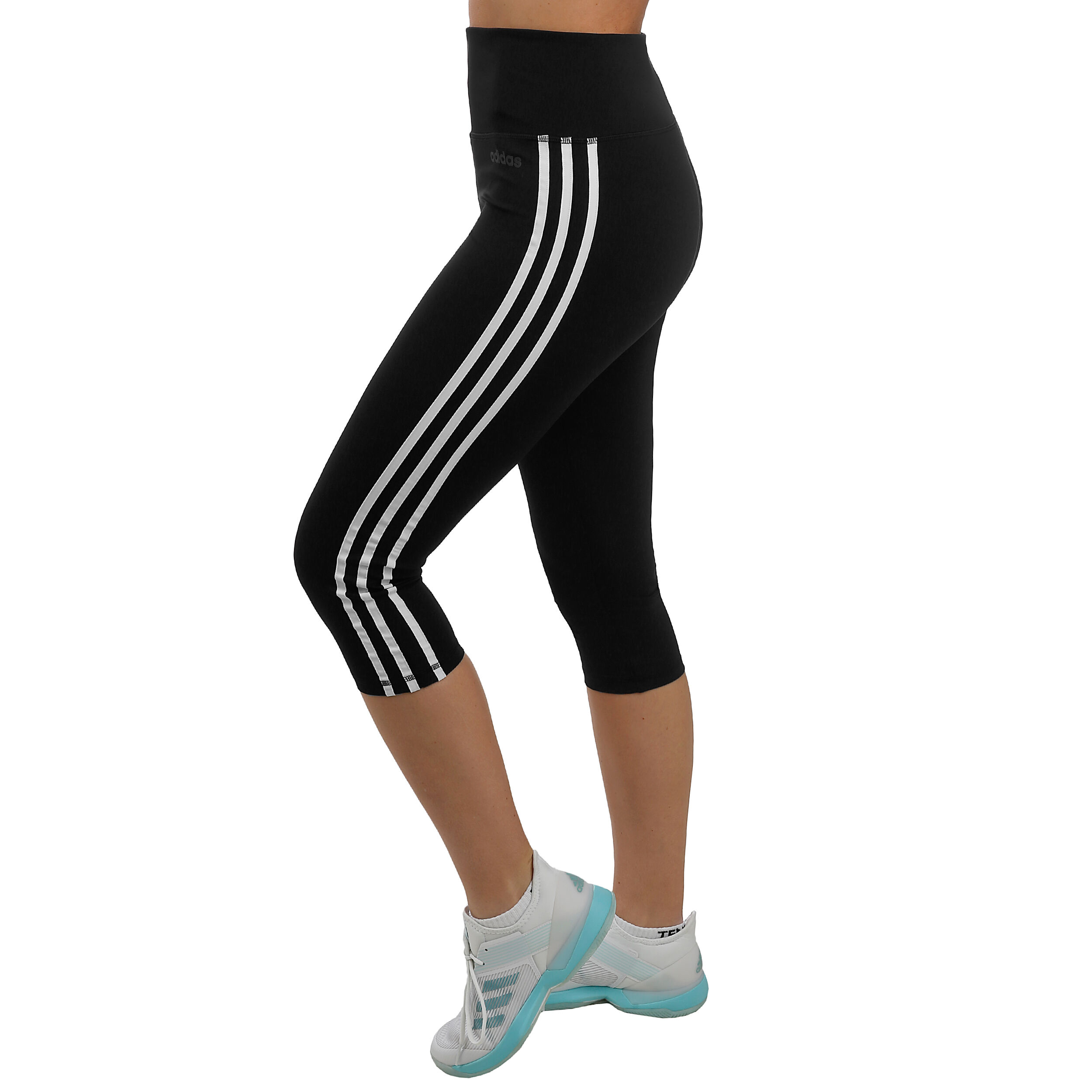 adidas D2M High Rise 3 Stripes Tight Damen Schwarz, Weiß
