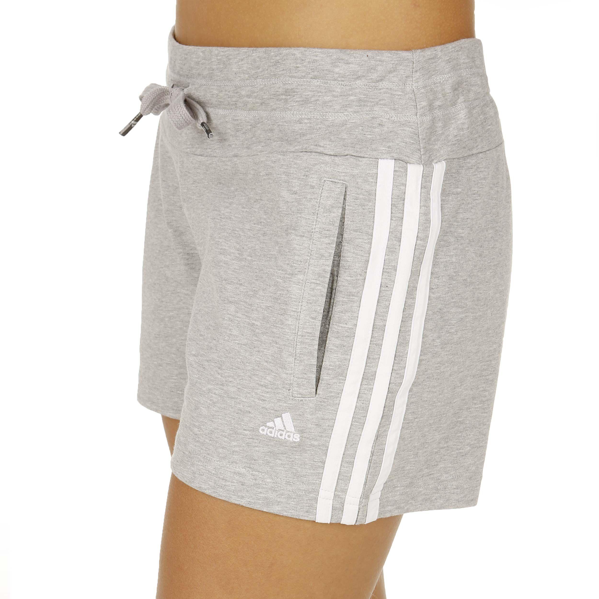 adidas Essentials 3 Stripes Knit Shorts Damen - Grau, Weiß ...