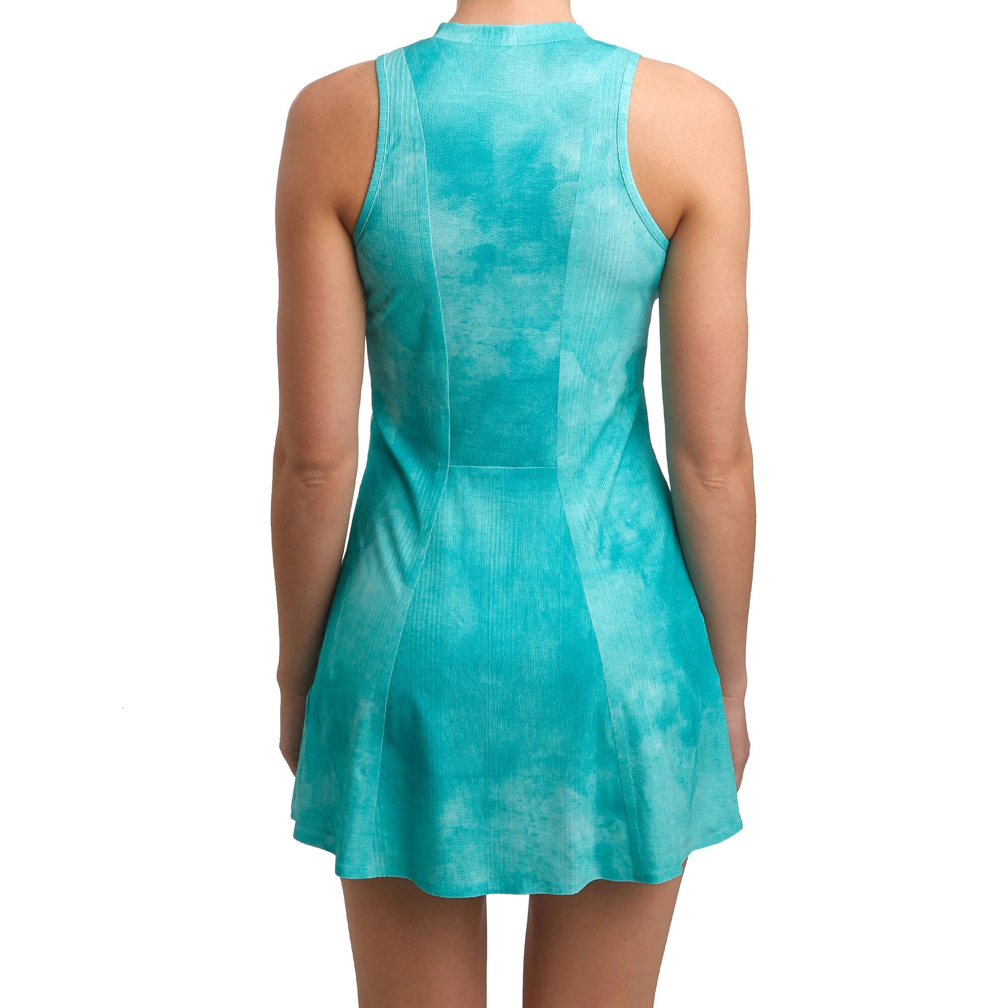 Nike Court Dri Fit Maria Printed Kleid Damen Turkis Dunkelgrau Online Kaufen Tennis Point